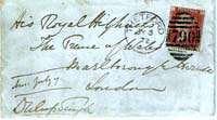 Signed envelope from Duleep Singh addressed to the Prince of Wales, 1872